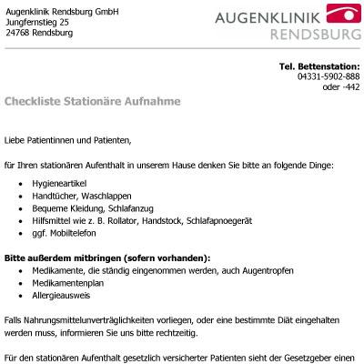 Augenklinik Rendsburg Checkliste Patienten Stationaerer Aufenthalt